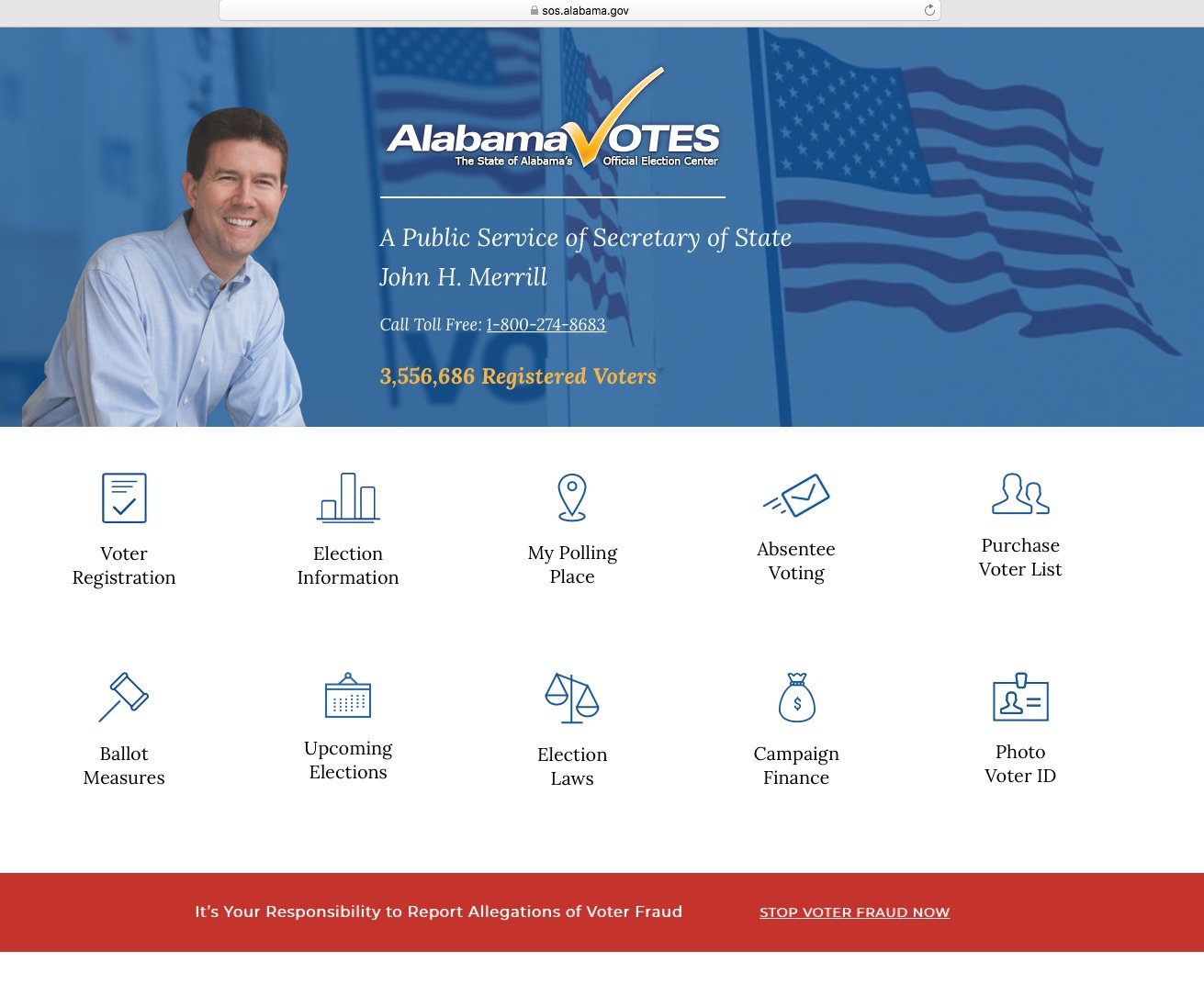 This is the home page of alabamavotes.gov, which offers voter registration, absentee registration, and other services and information involving the 2020 elections.