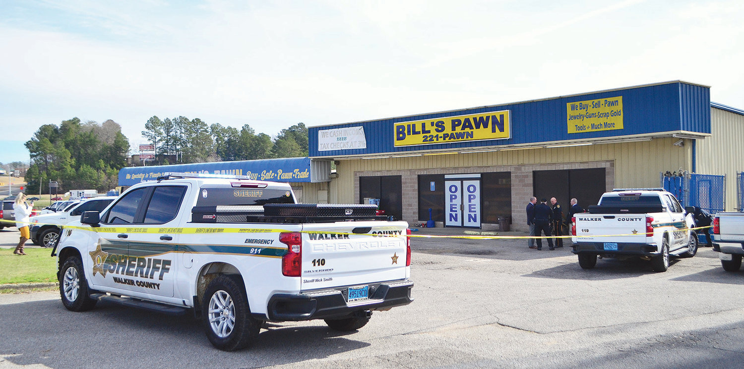 Bill's Pawn Shop in Jasper was searched on Wednesday by the Walker County Sheriff's Office and Jasper Police Department.