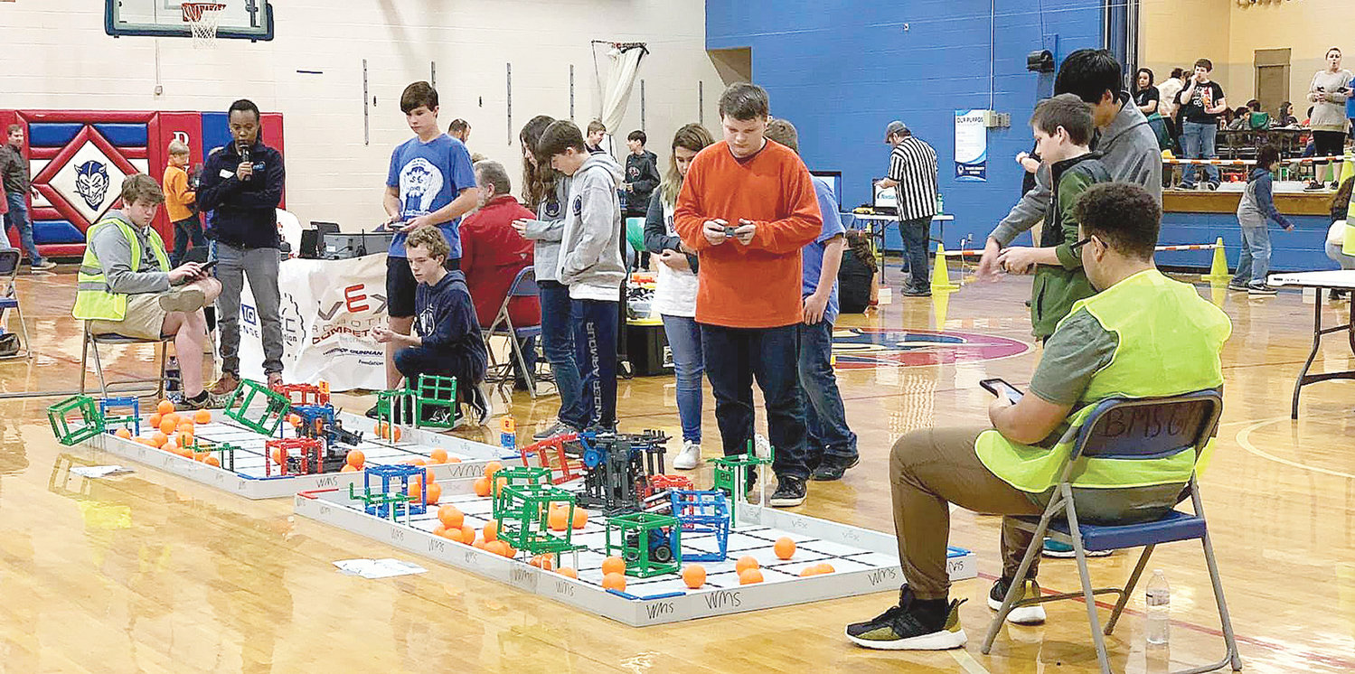 Pictured are students taking part in the VEX IQ robotics competition at Bankhead Middle School.