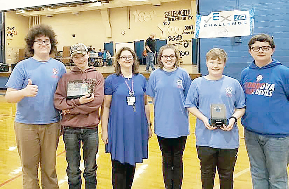 Lance Bonikowski, Cody Robertson, Ara Walker, AJ Freeman,   and Kaleb Howell were part of a Bankhead Middle School team that earned a bid to the state VEX IQ robotics competition.