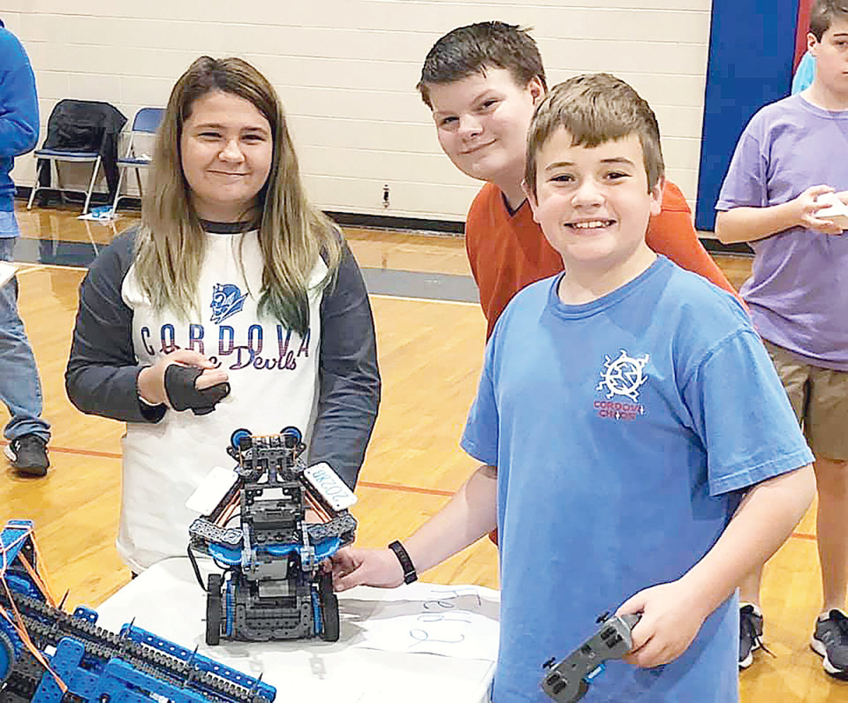 Bankhead Middle School students Maddie Murray, Alex Robbins and Logan Williams finished fifth overall in the elementary division of Saturday's robotics competition.