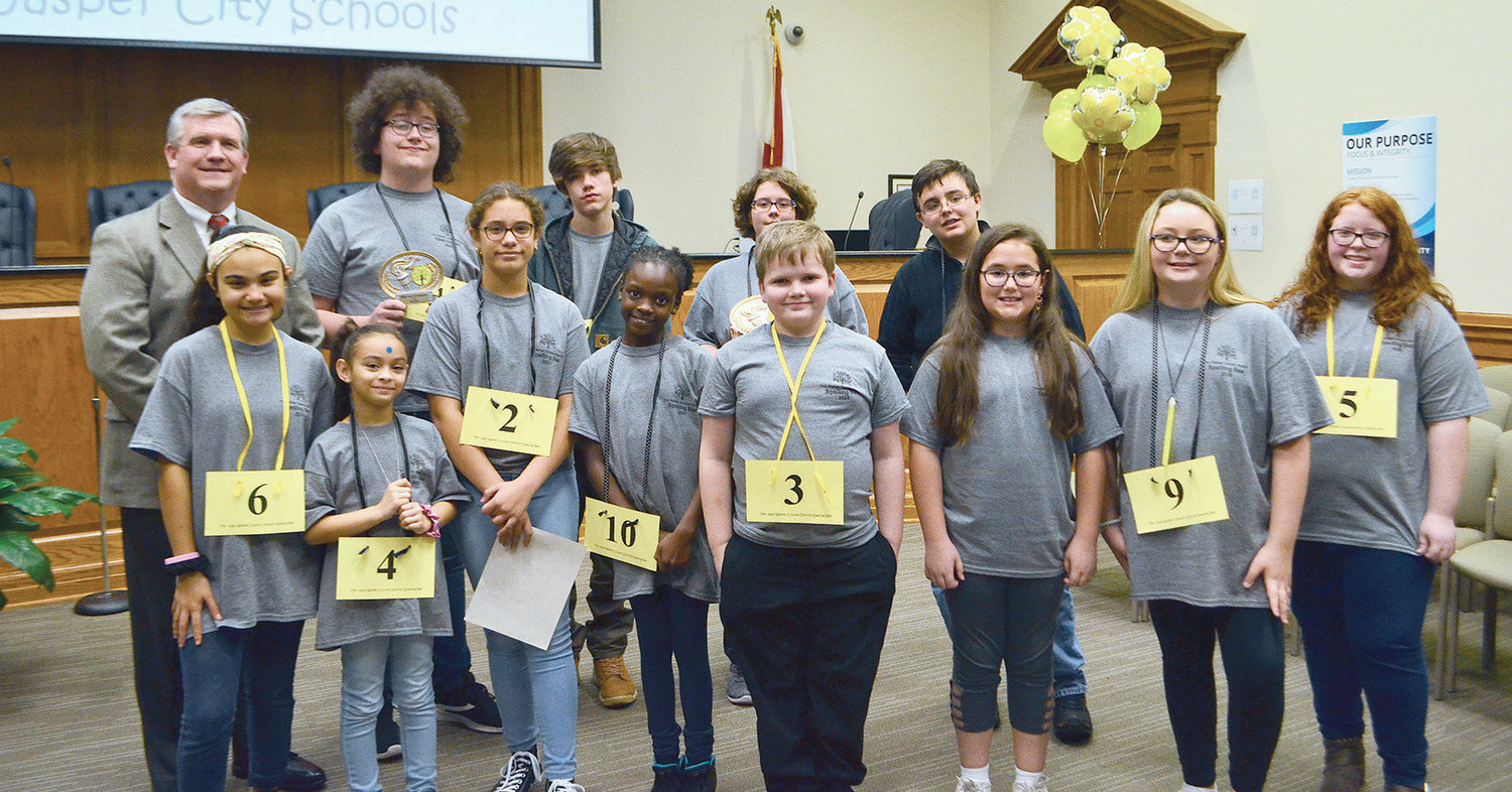Some participants of the Walker County District Spelling Bee are pictured following the competition on Friday.