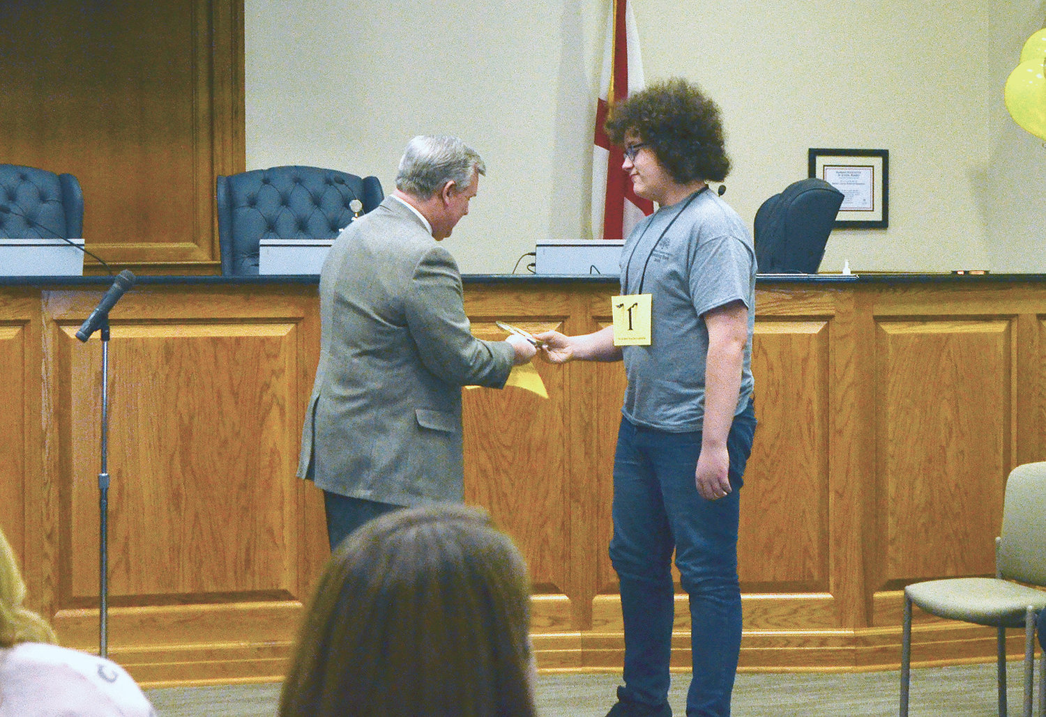 Bankhead Middle School student Lance Bonikowski is congratulated by Walker County Schools Superintendent Dr. Joel Hagood for placing second in the Walker County District Spelling Bee.