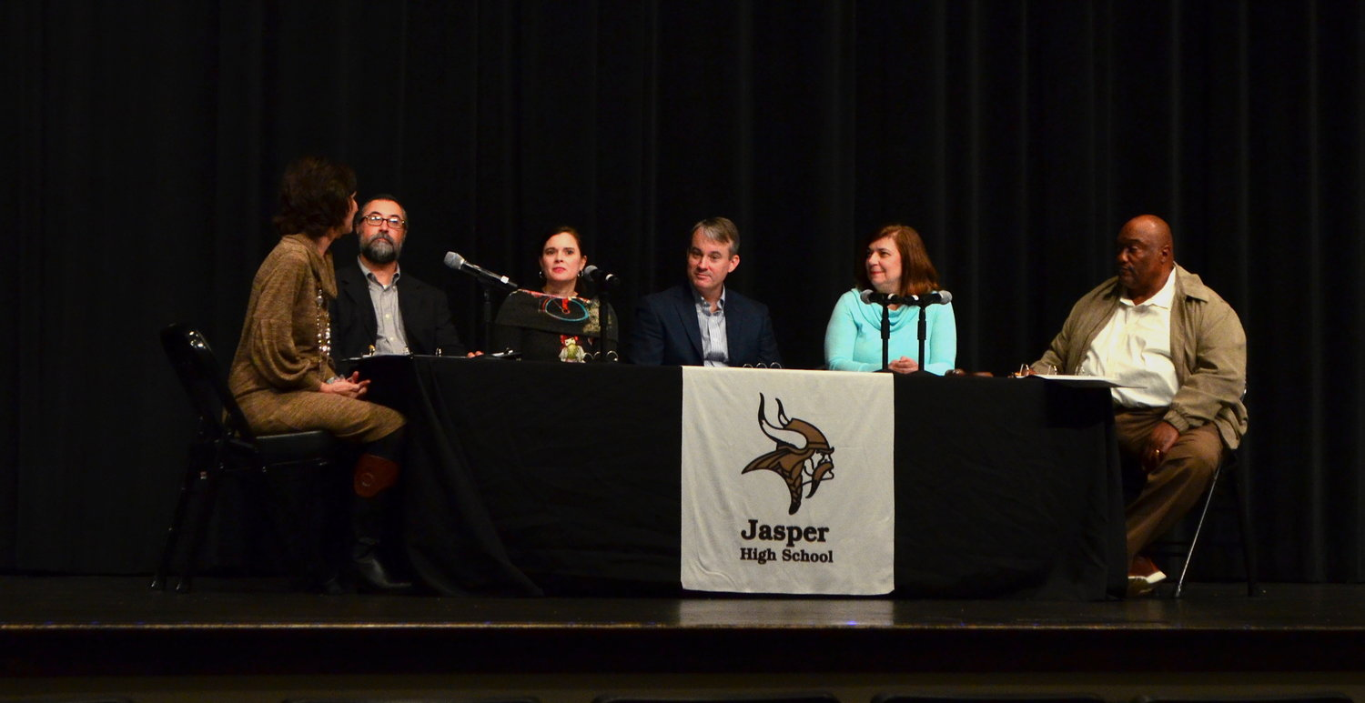 Honored at Monday's Jasper City Board of Education meeting were, second from left, Walker Wilson, Mary Beth Barber, Scott Thornley, Teresa Sherer and Willie Moore — all members of the Jasper City Board of Education.
