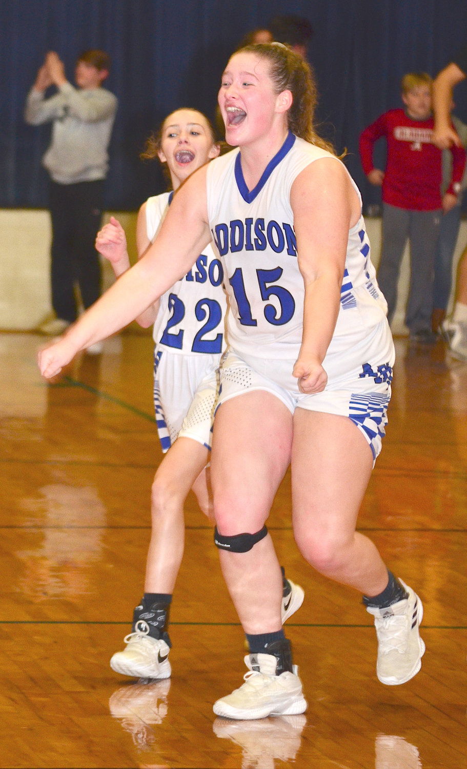 Addison's Savannah Manley (15) and Bracie Rodgers (22) celebrate Monday's win over Sulligent on Monday.