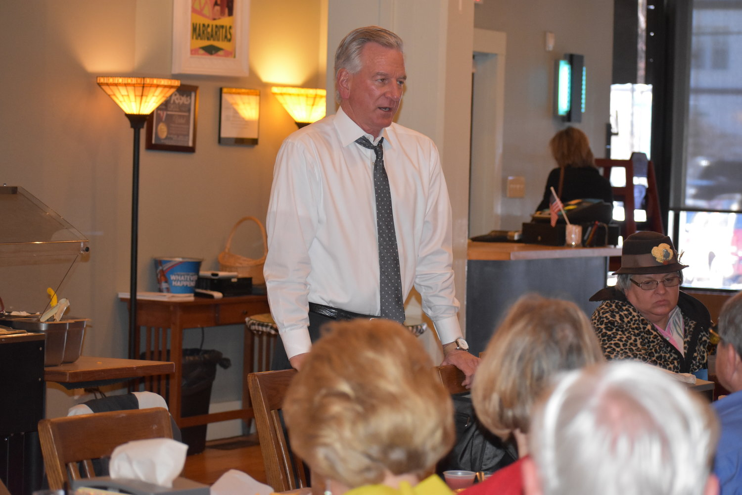 Republican Senate candidate Tommy Tuberville speaks at a campaign luncheon at Los Reyes in Jasper Friday.