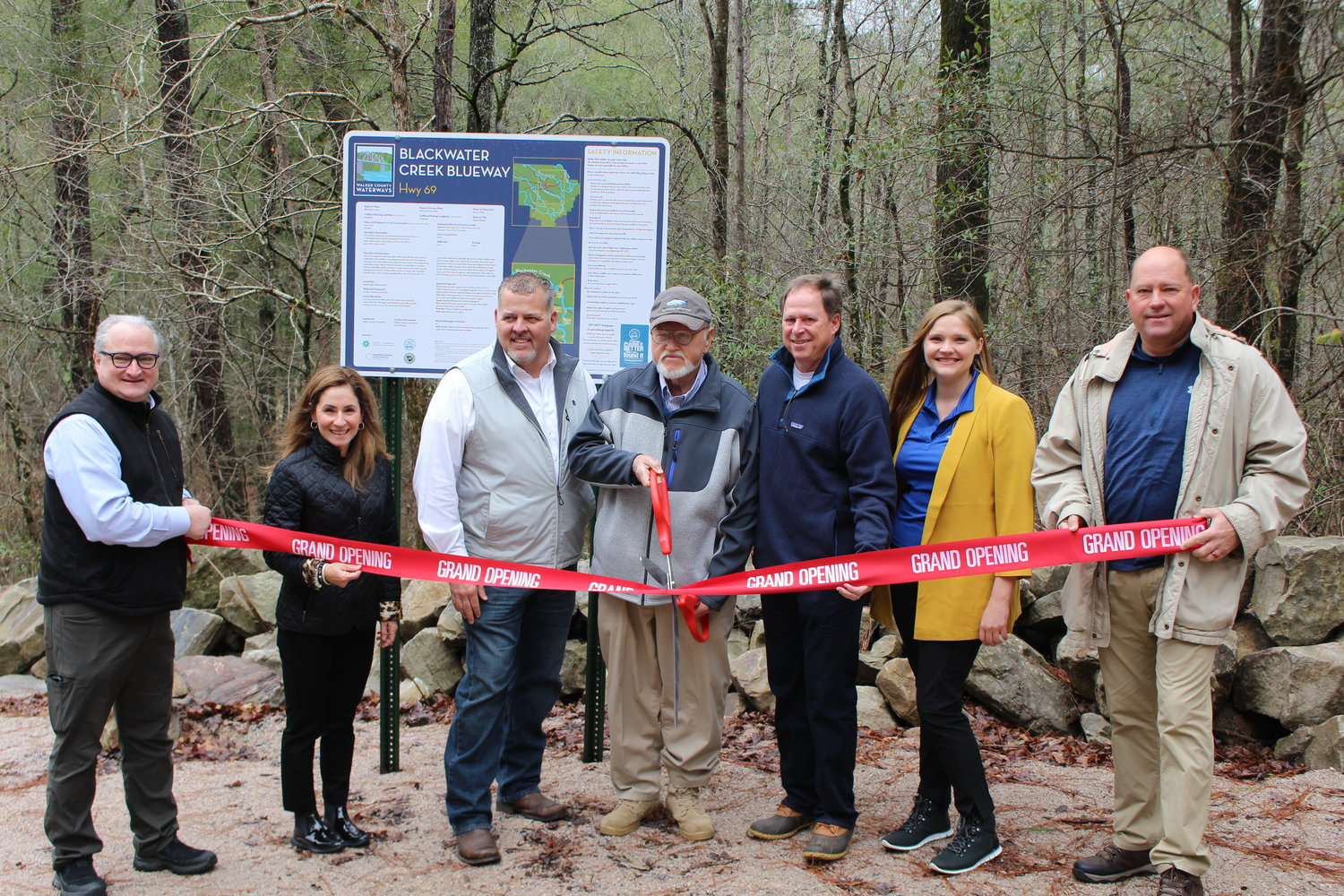 A number of officials celebrated the opening of the Highway 69 Blackwater Creek access point on Thursday. They included, from left, Paul Kennedy, Jenny Short, Steven Aderholt, Jerry Bishop, Mike Short, Elyse Peters and Jeff Burrough