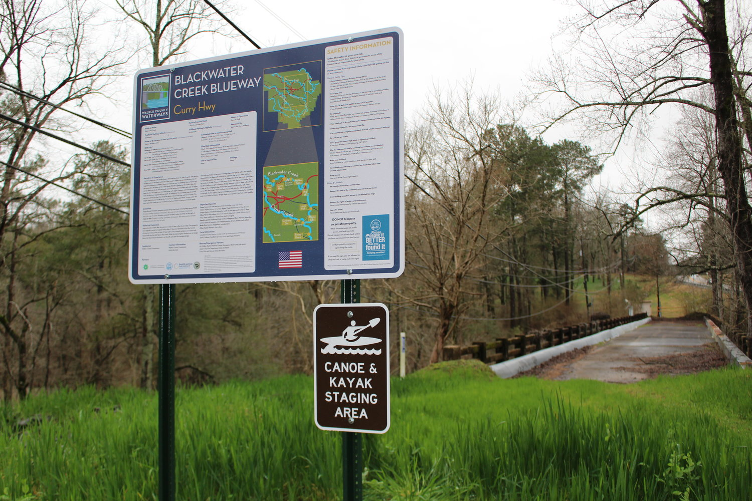 New signage at the Curry Highway access point gives information about the Walker County Waterways Project.