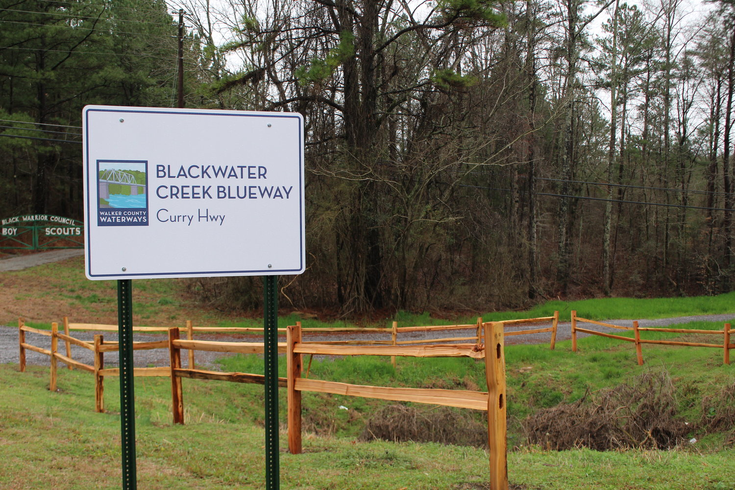 New signs are in place signaling the new Blackwater Creek access point along Curry Highway.