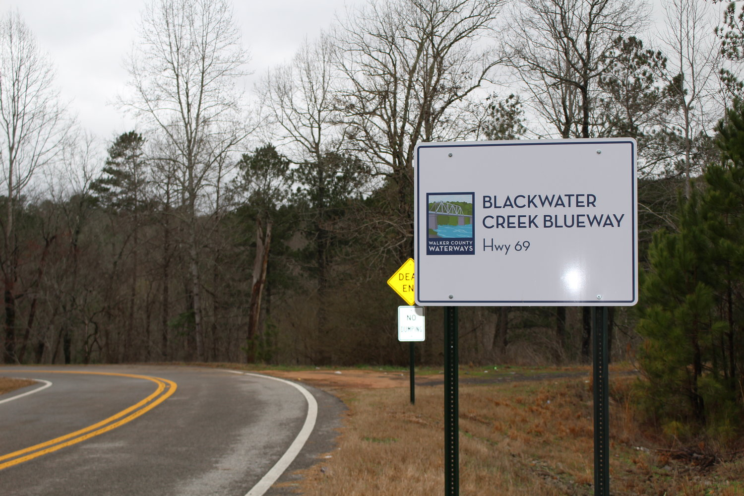 New signs are in place signaling the new Blackwater Creek access point along Highway 69.