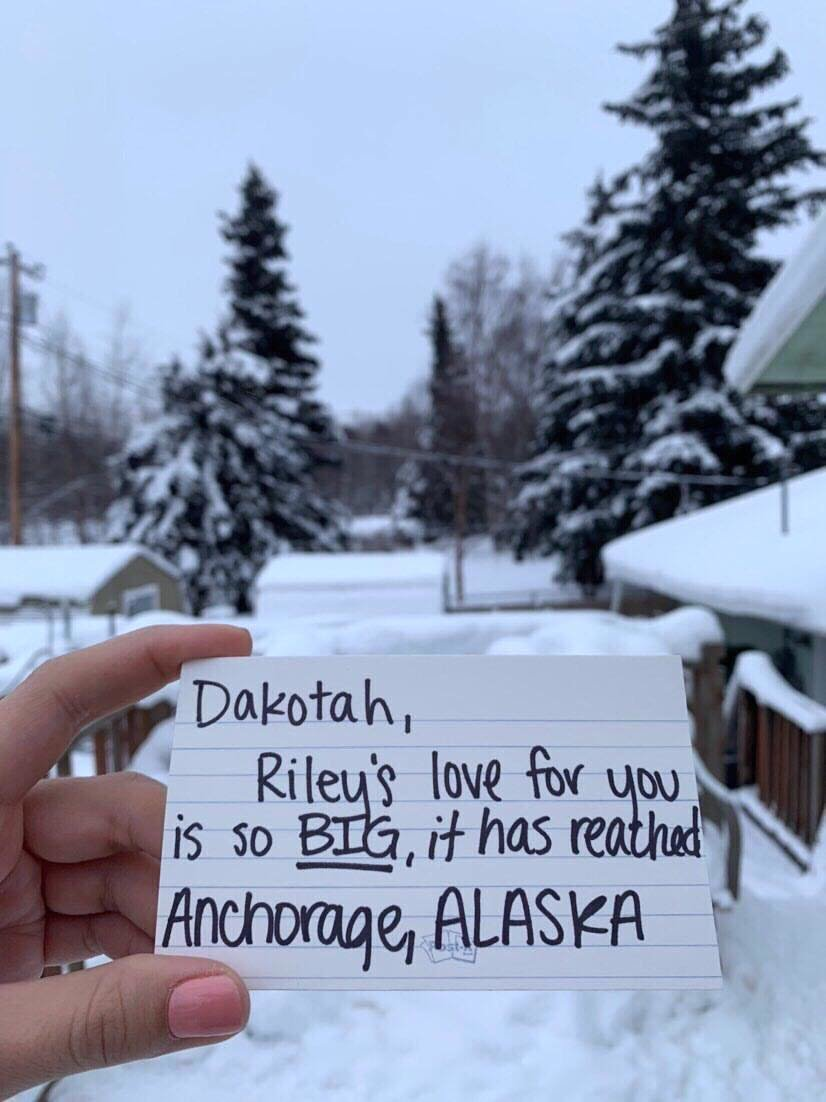 A photo from Alaska was sent to Riley Brown to include in a Valentine's Day project.