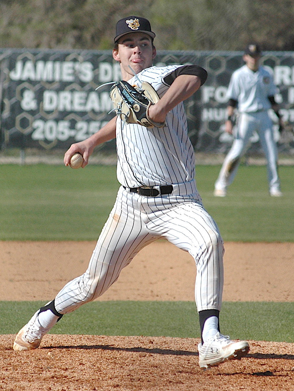 Corner's Colin Daniel throws a pitch against Moody during their game on Saturday. Daniel earned the win on the mound.