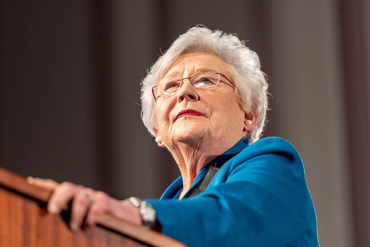 Gov. Kay Ivey gives the State of the State Address to a joint session of the Alabama Legislature on Tuesday, Feb. 4, 2020, in the old house chamber of the Alabama State Capitol in Montgomery, Ala. (AP Photo/Vasha Hunt)