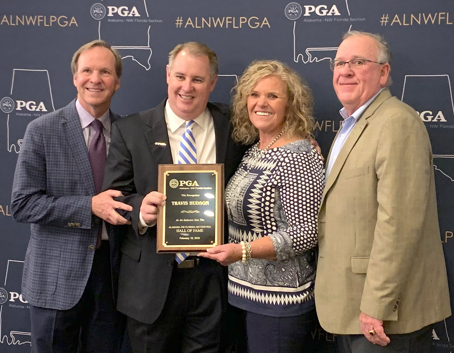 Travis Hudson was inducted into the Alabama-Northwest Florida PGA Hall of Fame last month in Montgomery. From left, Steve Hudson, Eric Eshleman, Pam Hudson and Tab Hudson attended the ceremony.