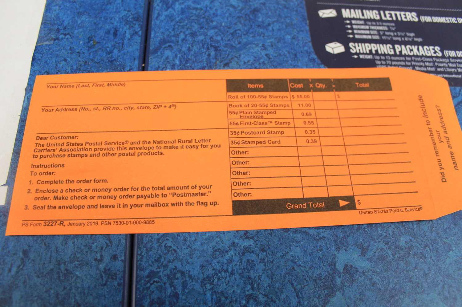 Stamp request envelopes are being distributed to cut down on traffic in the lobby of local post offices.