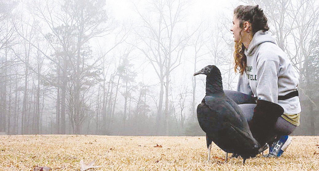 Marika Van Brocklin, animal program manager at Camp McDowell, sits with a black vulture. One of the live videos on Camp McDowell's Facebook page showed her taking a walk with the vulture and answering questions from commenters.