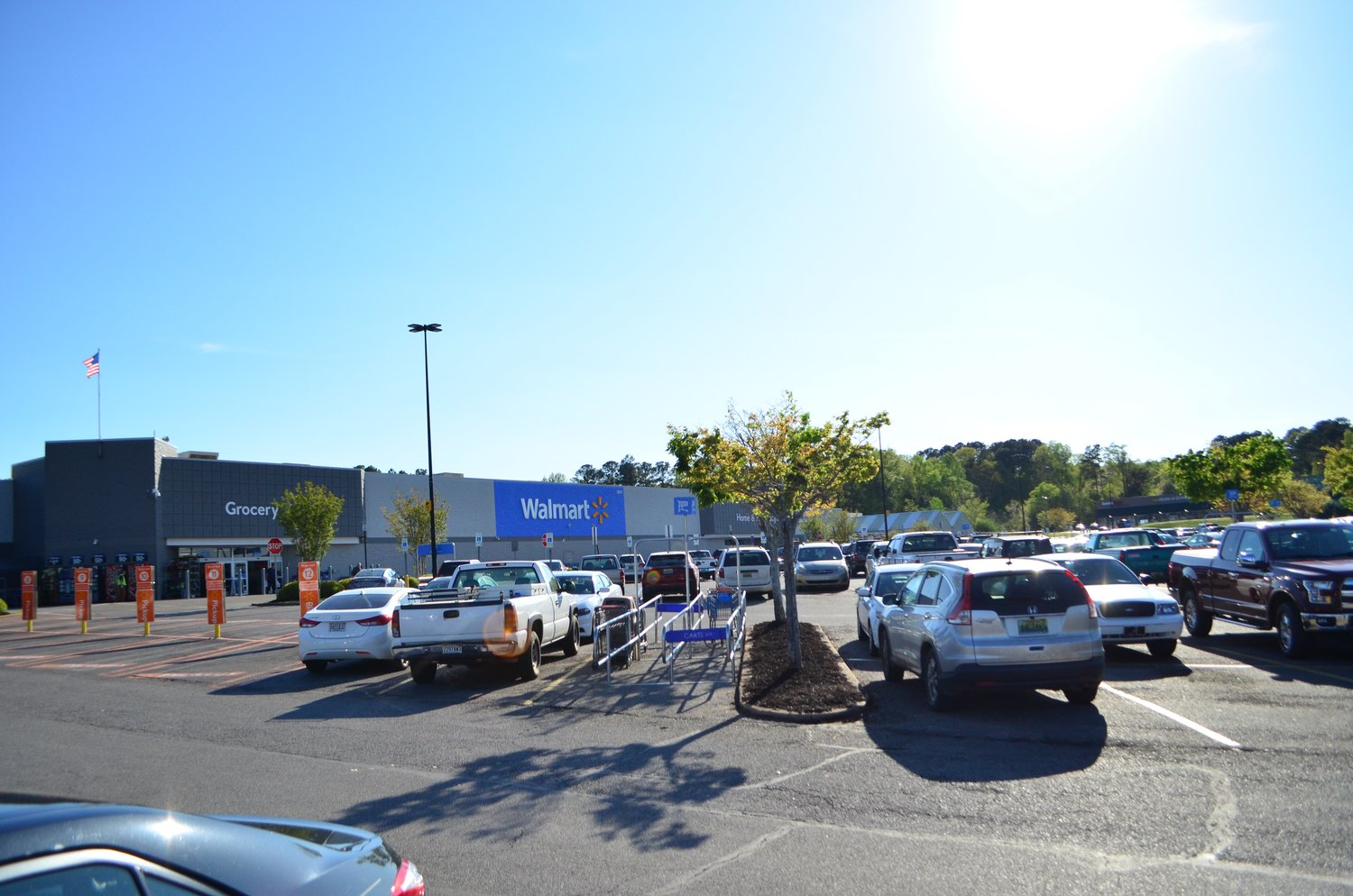 Jasper Walmart remained crowded Wednesday afternoon, as well as other large businesses, such as Home Depot.