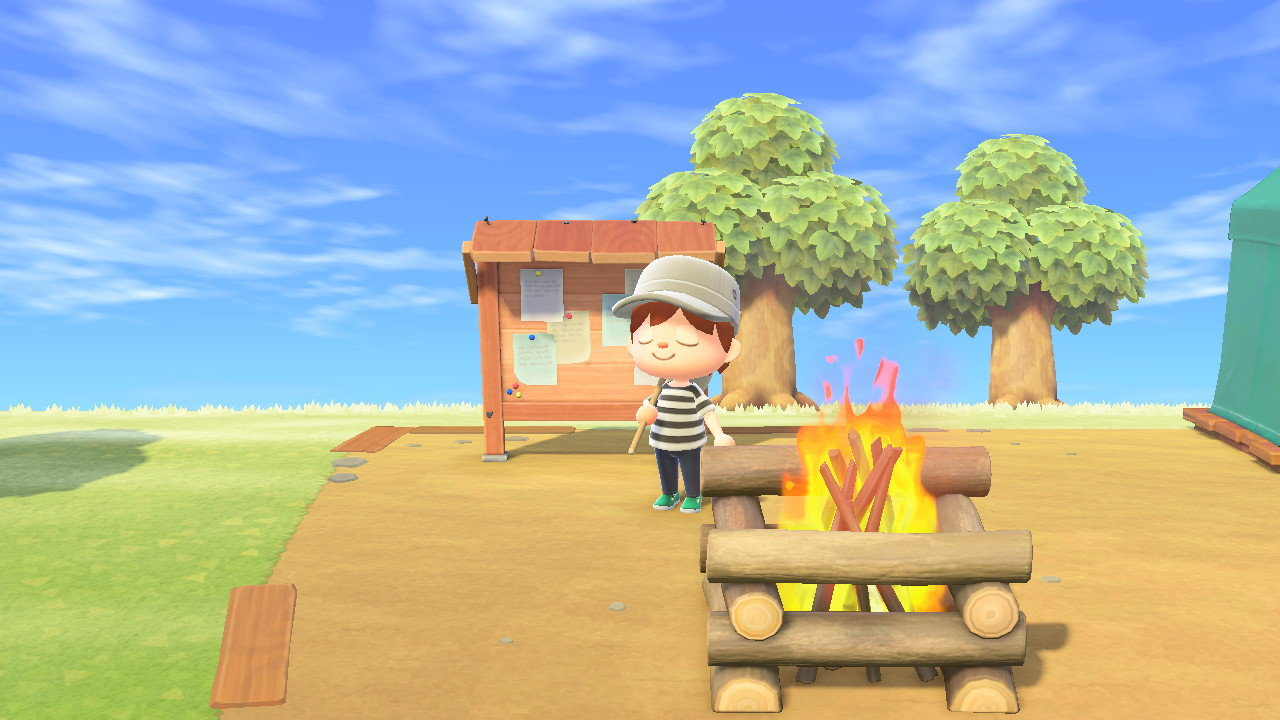 "An avatar stands near the bulletin board in ""Animal Crossing: New Horizons.""A variety of messages are placed on the board for players to read and players can also post messages of their own."