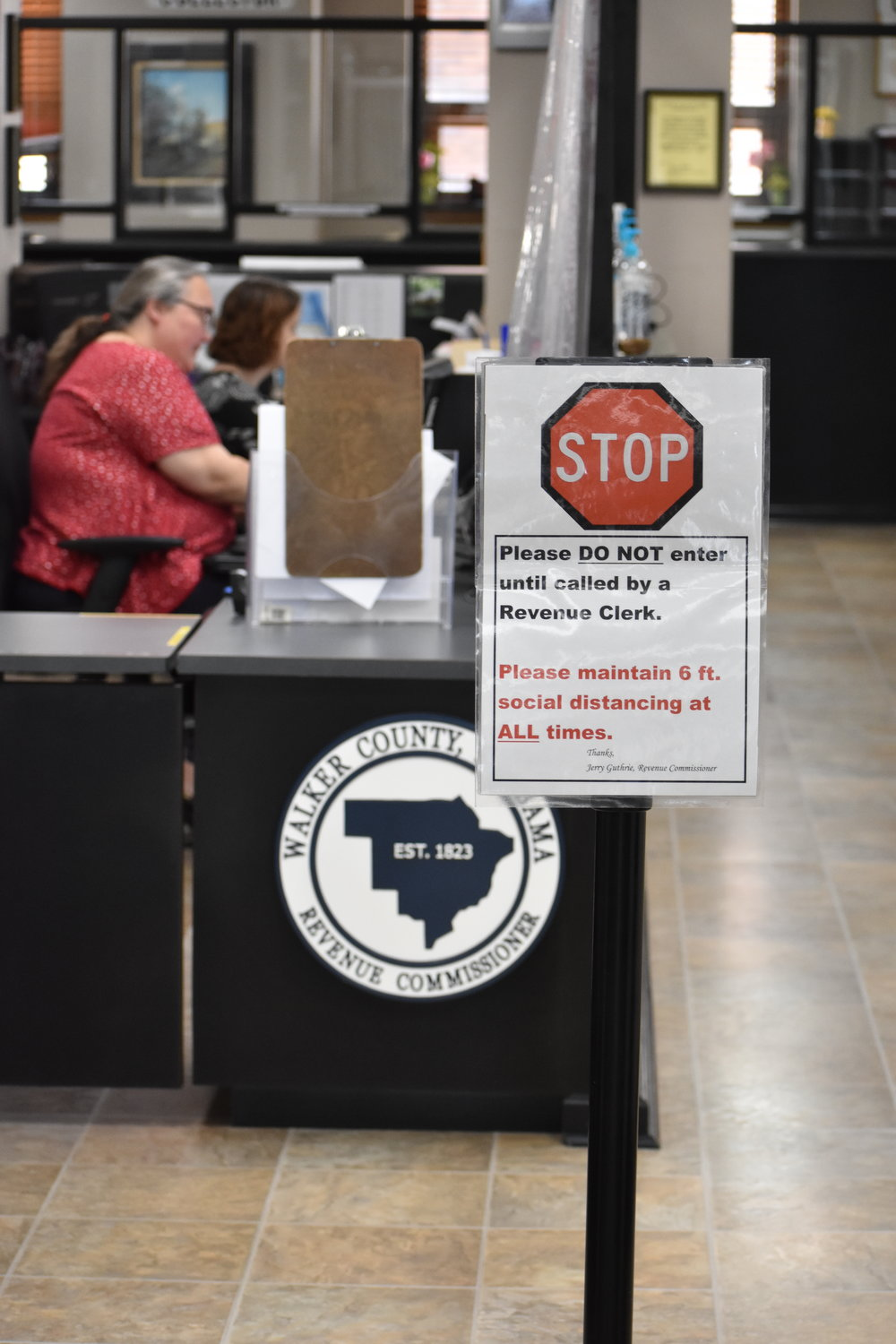No lines were seen at the Revenue Commissioner's Office Tuesday morning, but many precautions were taken around the office to deal with COVID-19.