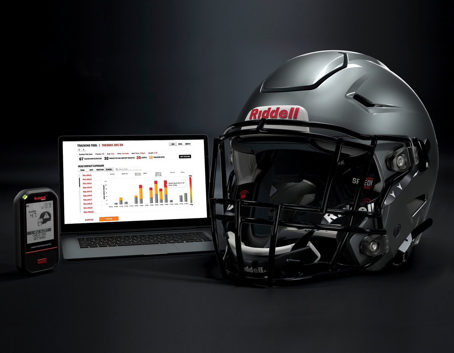 In this May 2020 photo provided by Riddell, a Riddell SpeedFlex helmet sits next to a computer screen displaying information from the InSite tool. Teaming with Catapult, an Australia-based technology company, Riddell is providing coaches, players and medical staff detailed information regarding anything from practice regimens to helmet contacts to overall preparation for athletes. (Riddell via AP)