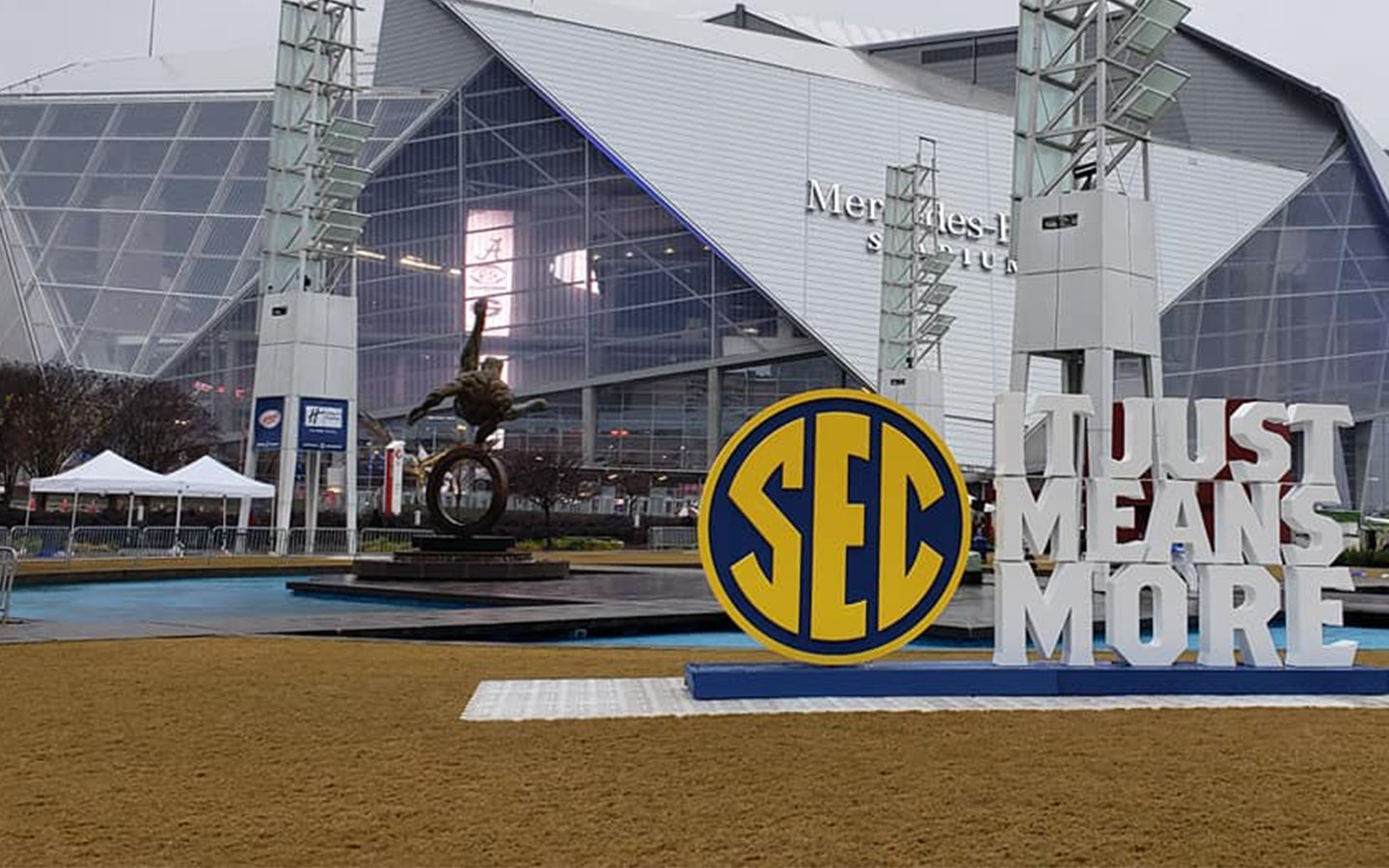 Mercedes-Benz Stadium in Atlanta prior to the 2018 SEC Championship Game. The Southeastern Conference announced on Friday that student-athletes would be allowed back on campus for voluntary workouts beginning June 8.