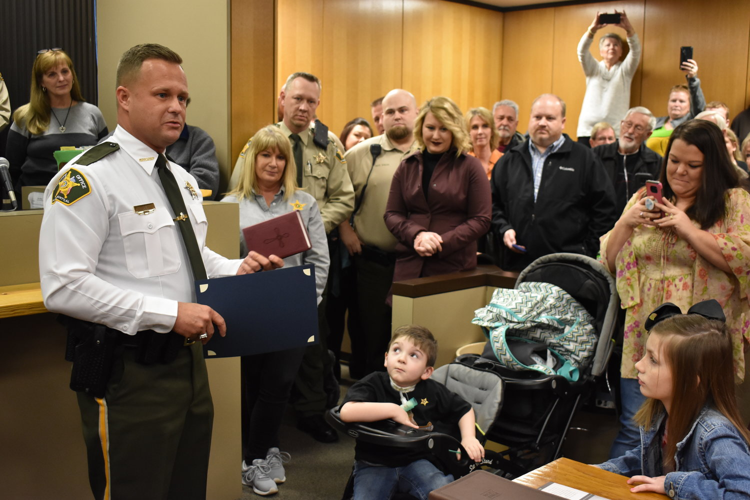 Walker County Sheriff Nick Smith, shown at his January 2019 swearing in ceremony, opted out of the supernumerary retirement system at the time. County voters will decide whether to allow him and others to participate in the state retirement system, which could save the county as much as $4 million in years to come.