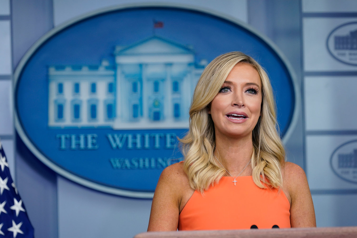 White House press secretary Kayleigh McEnany speaks during a press briefing at the White House, Monday, June 29, 2020, in Washington. (AP Photo/Evan Vucci)...