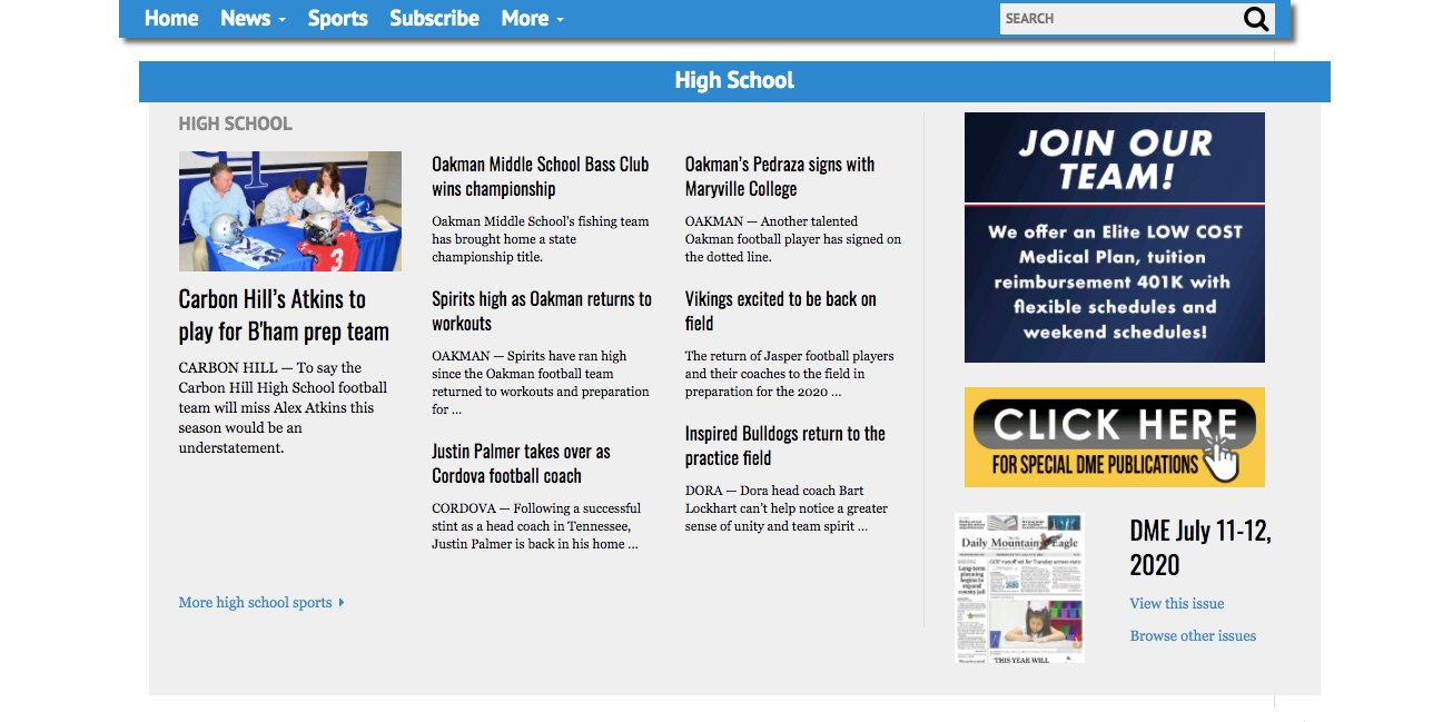 "This screenshot, taken on July 11, 2020, shows the ""High School"" section on the newly redesigned sports homepage on MountainEagle.com"