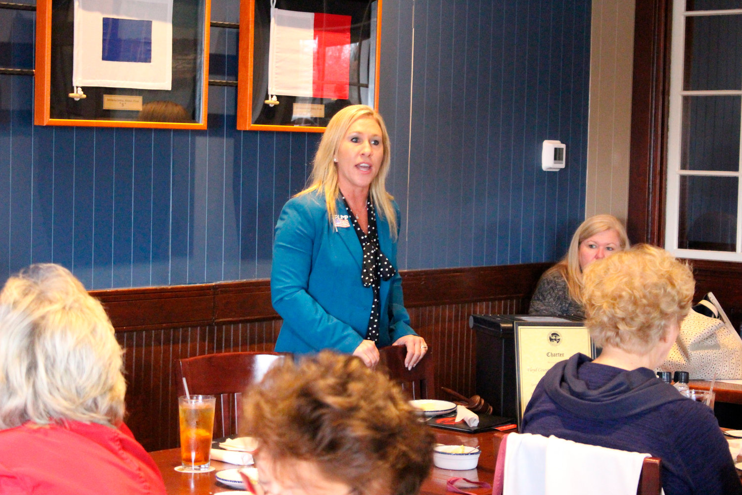 Republican Marjorie Taylor Greene speaks to a GOP women's group on March 3, 2020, in Rome, Ga. Greene is one of nine Republicans seeking her party's nomination in Georgia's 14th Congressional District on Tuesday, June 9, 2020. (John Bailey/Rome News-Tribune via AP)