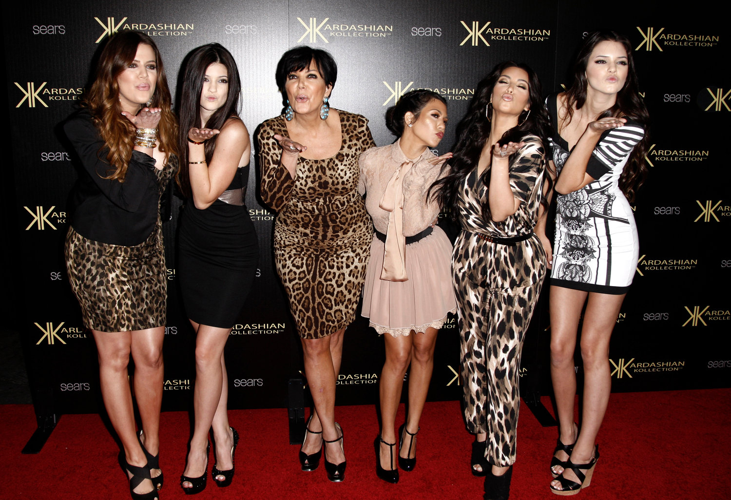 FILE - In this Aug. 17, 2011 file photo, from left, Khloe Kardashian, Kylie Jenner, Kris Jenner, Kourtney Kardashian, Kim Kardashian, and Kendall Jenner arrive at the Kardashian Kollection launch party in Los Angeles.  (AP Photo/Matt Sayles, file)