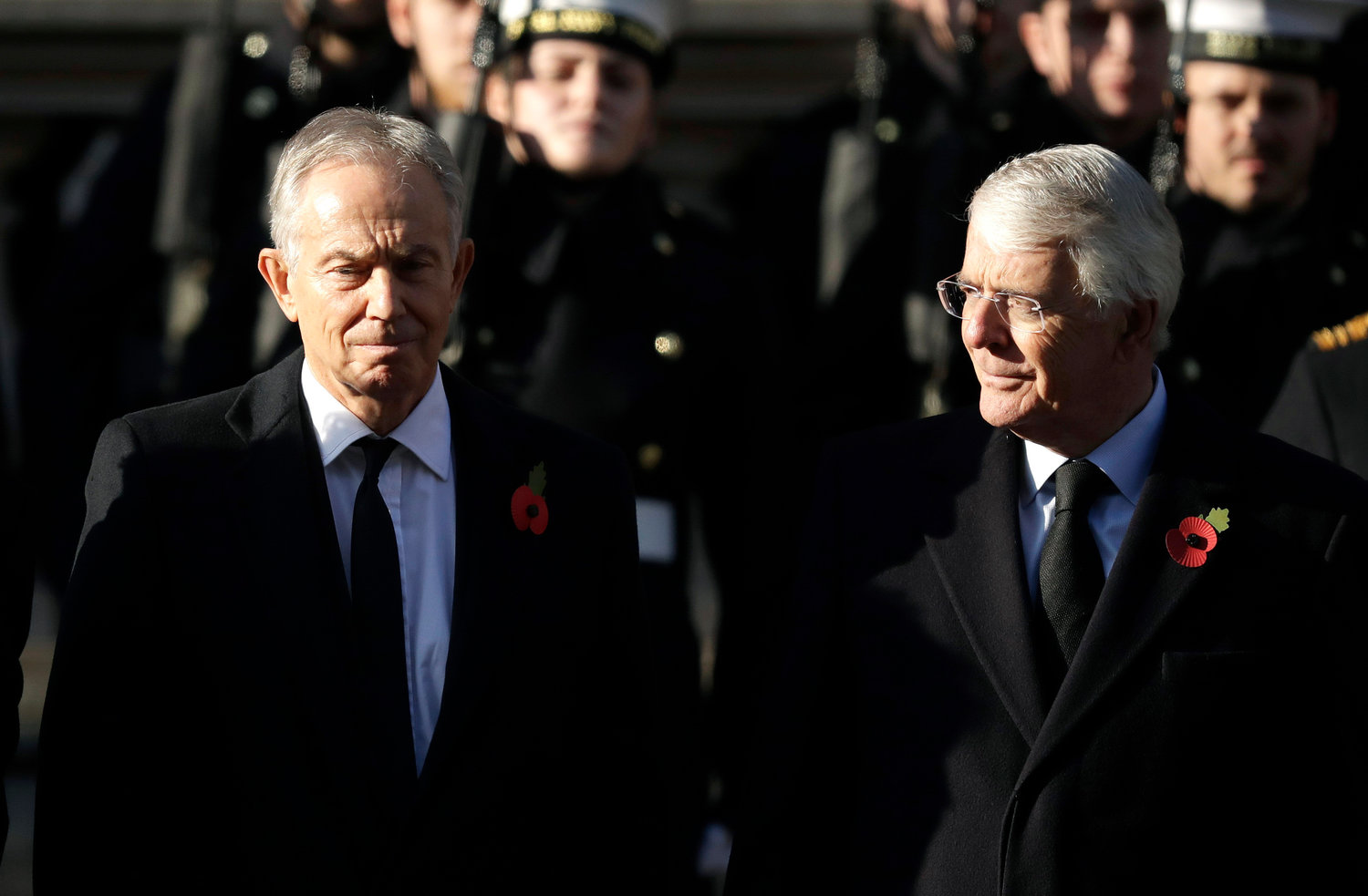 British Prime Ministers, Gordon Brown, Tony Blair, and John Major, from left, attend the Remembrance Sunday ceremony at the Cenotaph in Whitehall in London, Sunday, Nov. 10, 2019. Remembrance Sunday is held each year to commemorate the service men and women who fought in past military conflicts. (AP Photo/Matt Dunham)