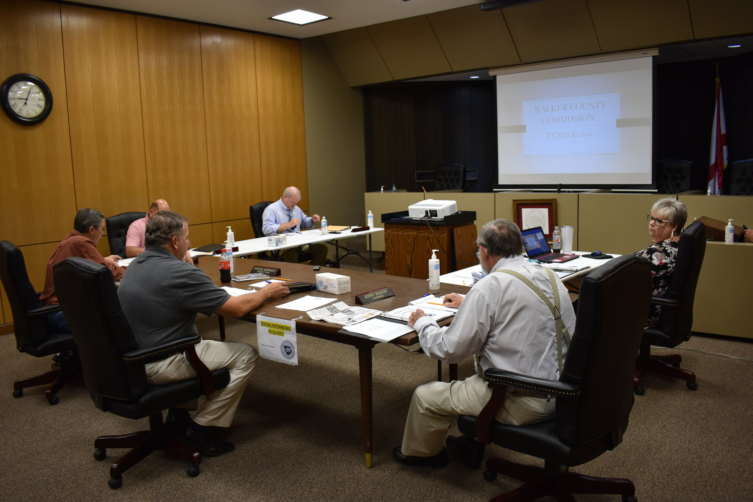 The Walker County Commission distanced from each other in a U-shaped table during Tuesday's work session on the Fiscal 2021 budgets.