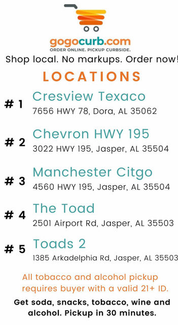 The following is a list of merchants offering the GoGoCurb service in Walker County.