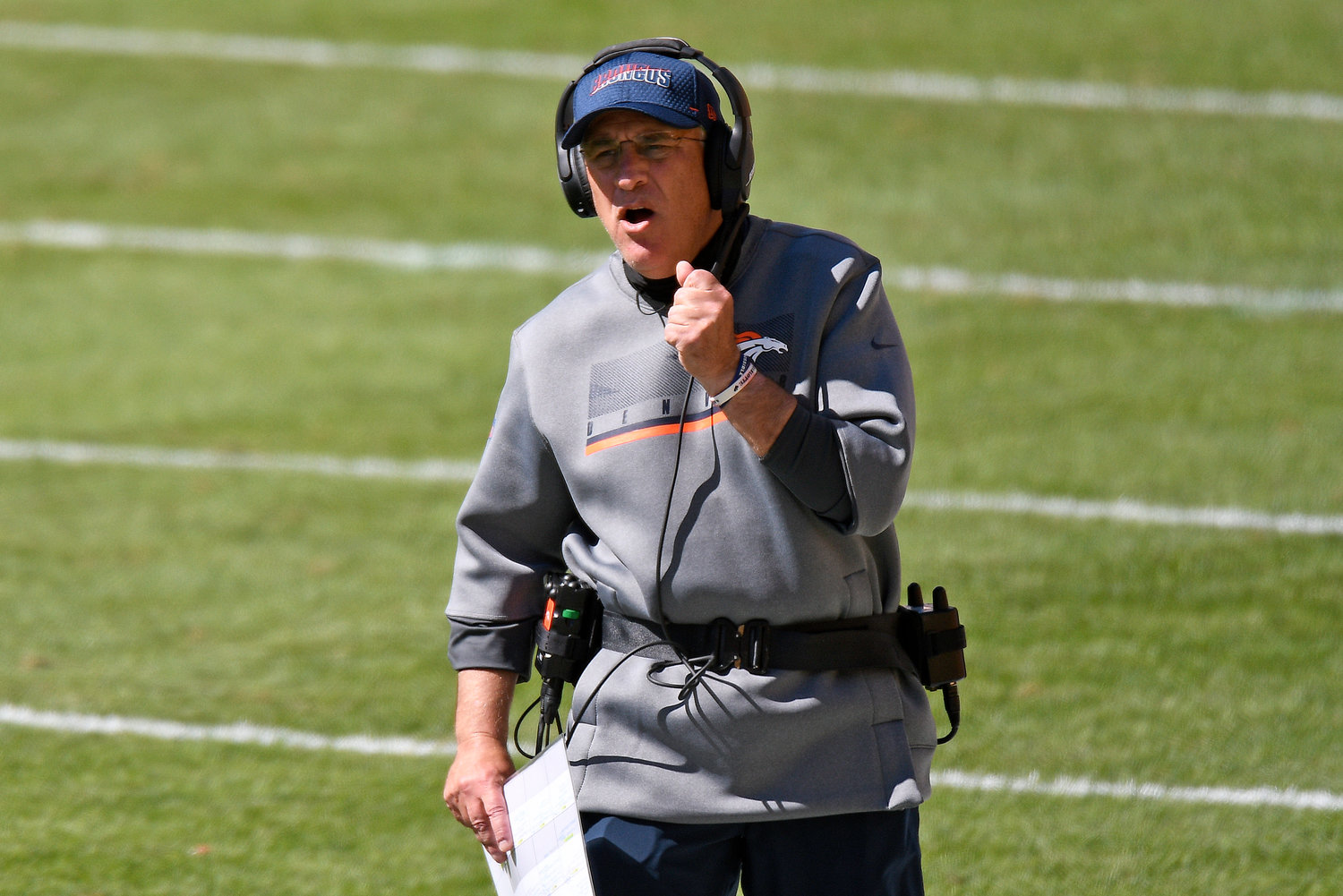Denver Broncos head coach Vic Fangio walks the sideline during the first half of an NFL football game against the Pittsburgh Steelers in Pittsburgh, Sunday, Sept. 20, 2020. (AP Photo/Don Wright)