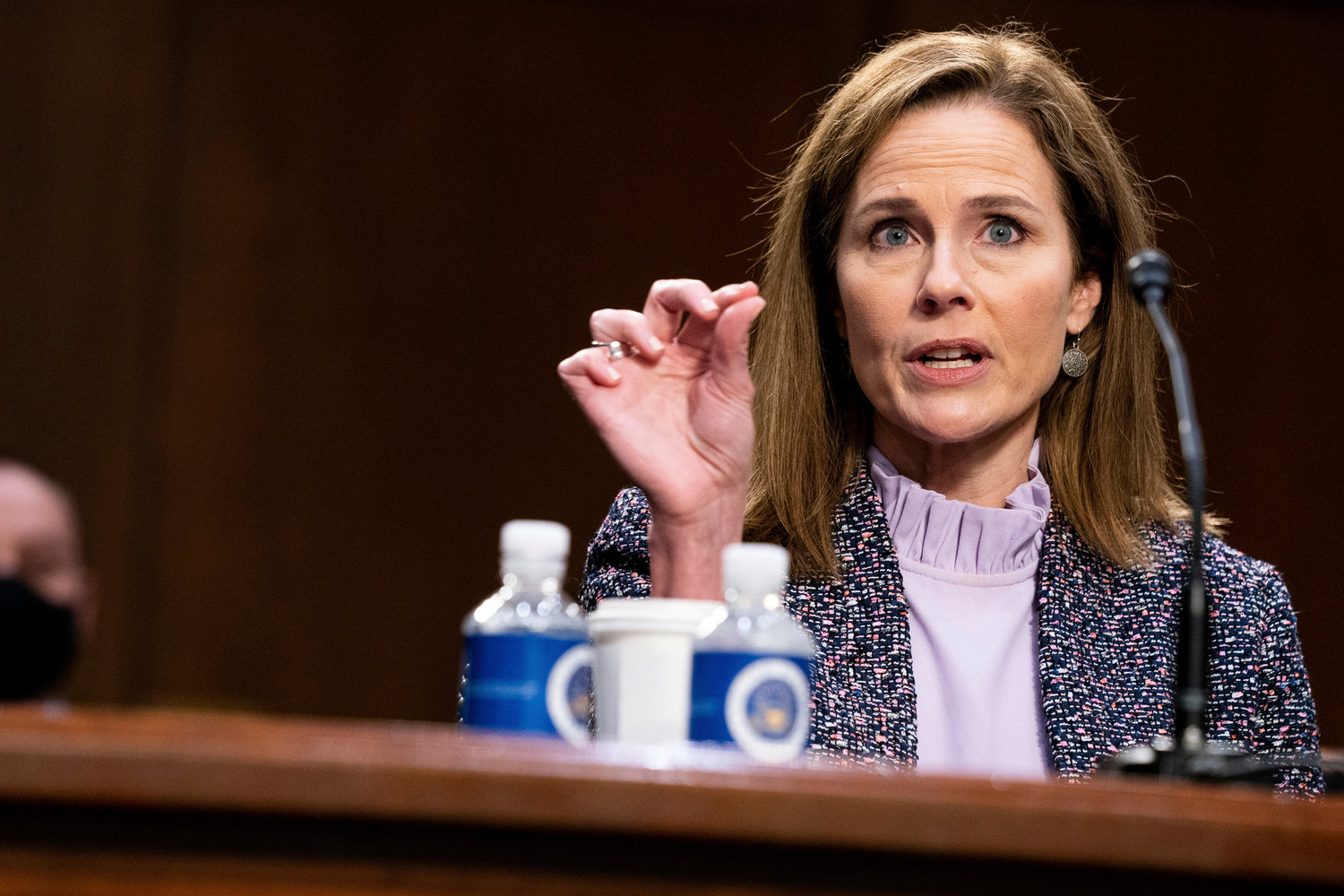 NYTACB Judge Amy Coney Barrett, President Donald Trump's Nominee for Supreme Court, speaks during the third day of her confirmation hearing with the Senate Judiciary Committee in Hart Senate Office Building in Washington DC, on October 14th, 2020. .