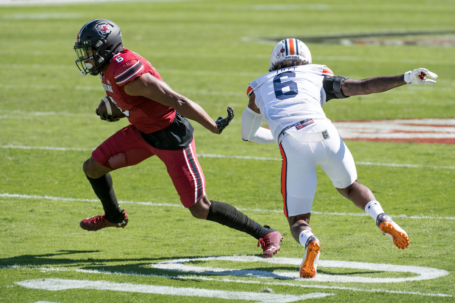 South Carolina wide receiver Josh Vann (6) runs with the ball against Auburn defensive back Christian Tutt (6) during the first half of an NCAA college football game Saturday, Oct. 17, 2020, in Columbia, S.C. (AP Photo/Sean Rayford)