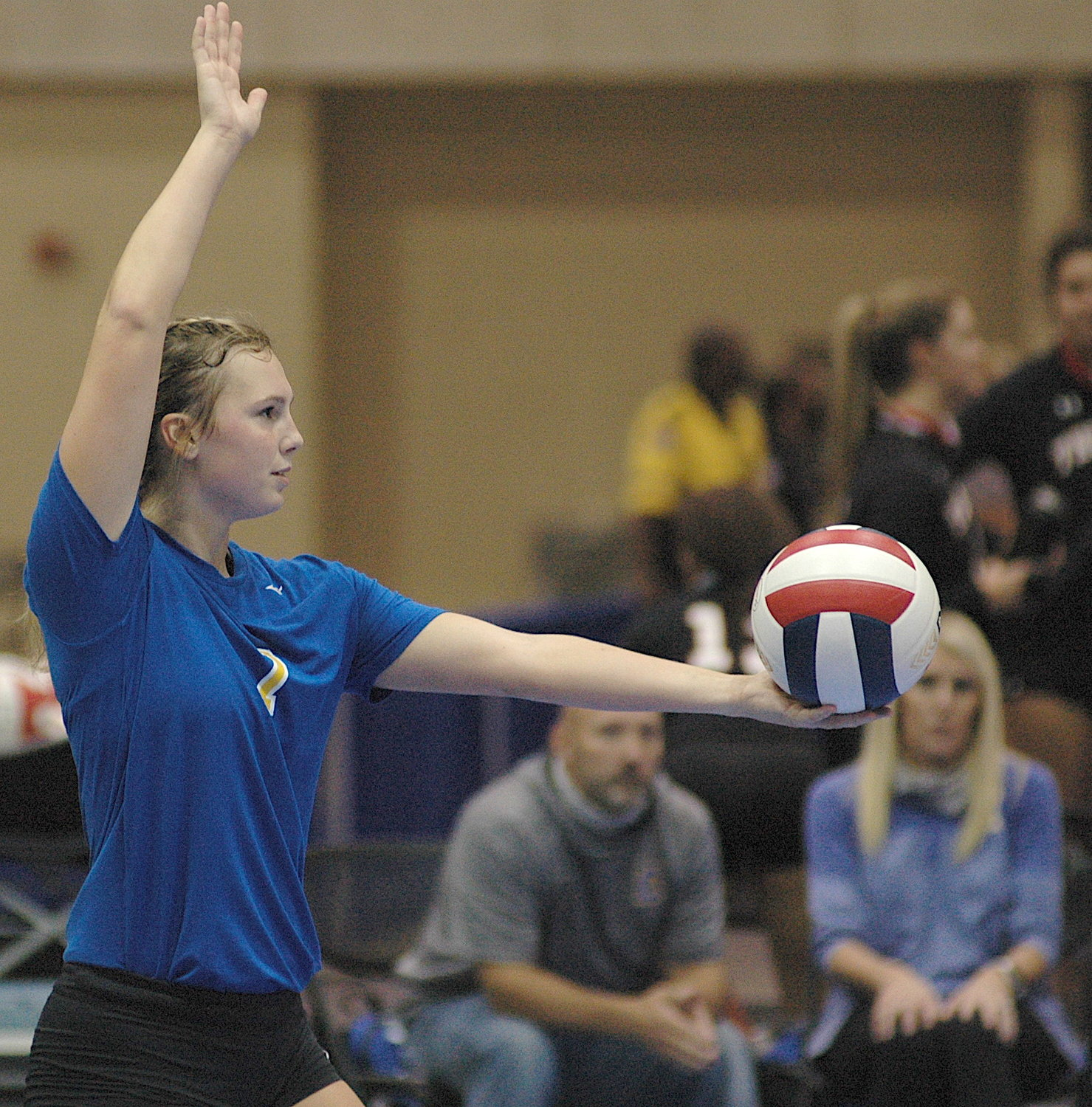 Curry's Rae Ann Hall prepares to serve during the North Super Regional Tournament on Friday.