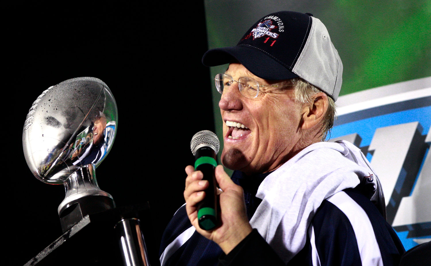 "FILE - Virginia Destroyers head coach Marty Schottenheimer speaks after defeating the Las Vegas Locomotives to win the United Football League Championship in Virginia Beach, Va., in this Oct. 21, 2011, file photo. Marty Schottenheimer, who won 200 regular-season games with four NFL teams thanks to his ""Martyball"" brand of smash-mouth football but regularly fell short in the playoffs, has died. He was 77. Schottenheimer died Monday night, Feb. 8, 2021,  at a hospice in Charlotte, North Carolina, his family said through Bob Moore, former Kansas City Chiefs publicist. (L. Todd Spencer/The Virginian-Pilot via AP)"