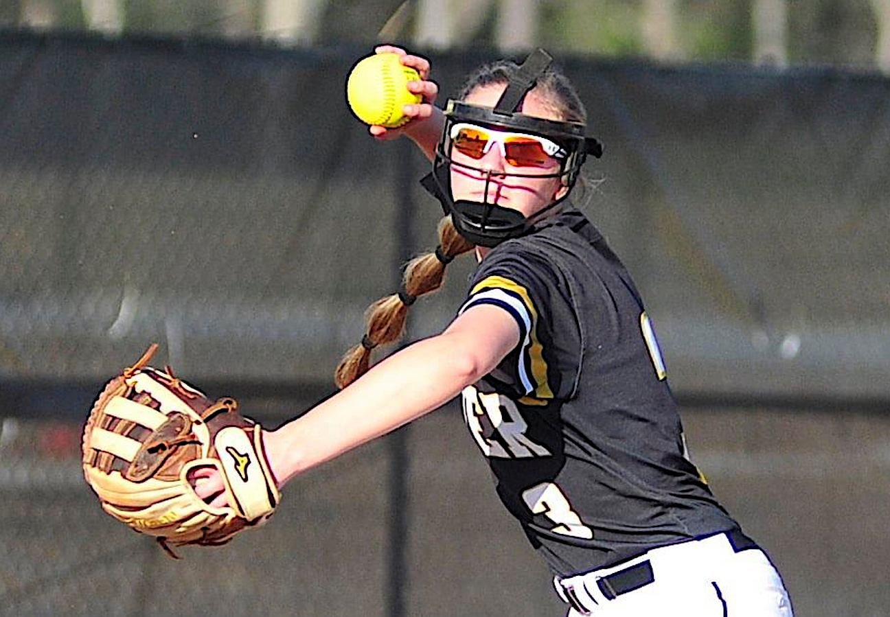 Jasper's Isabella Brown throws to first for an out during Tuesday's win over Jackson-Olin.
