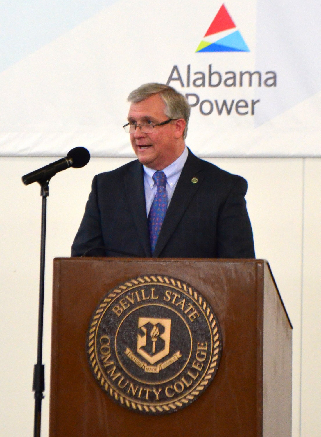 Bevill State Community College President Dr. Joel Hagood speaks during Tuesday's graduation ceremony.