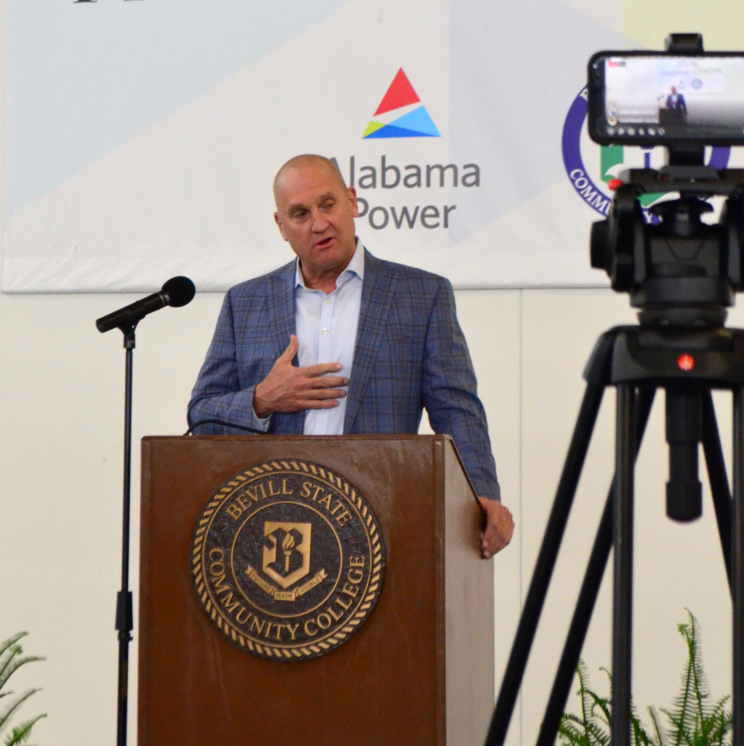 Jeff Peoples of Alabama Power spoke on Tuesday of the strong partnership between the power company and Bevill State Community College.