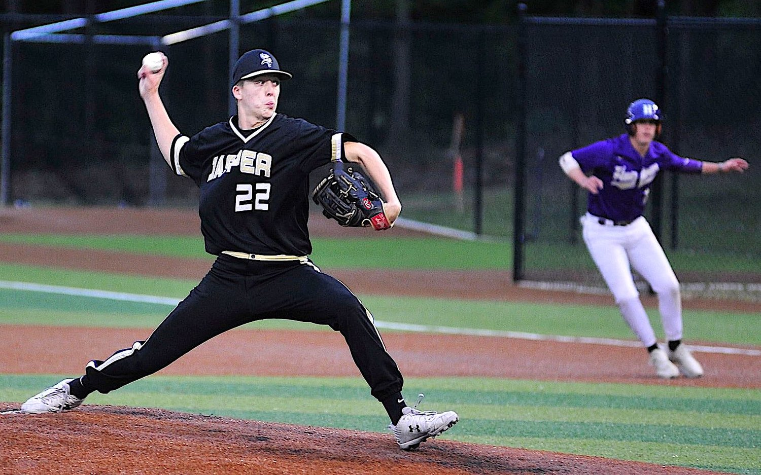 Jasper's Tyler Morrison pitches against Hueytown during game 2 of their double header at Valley Park on Friday.