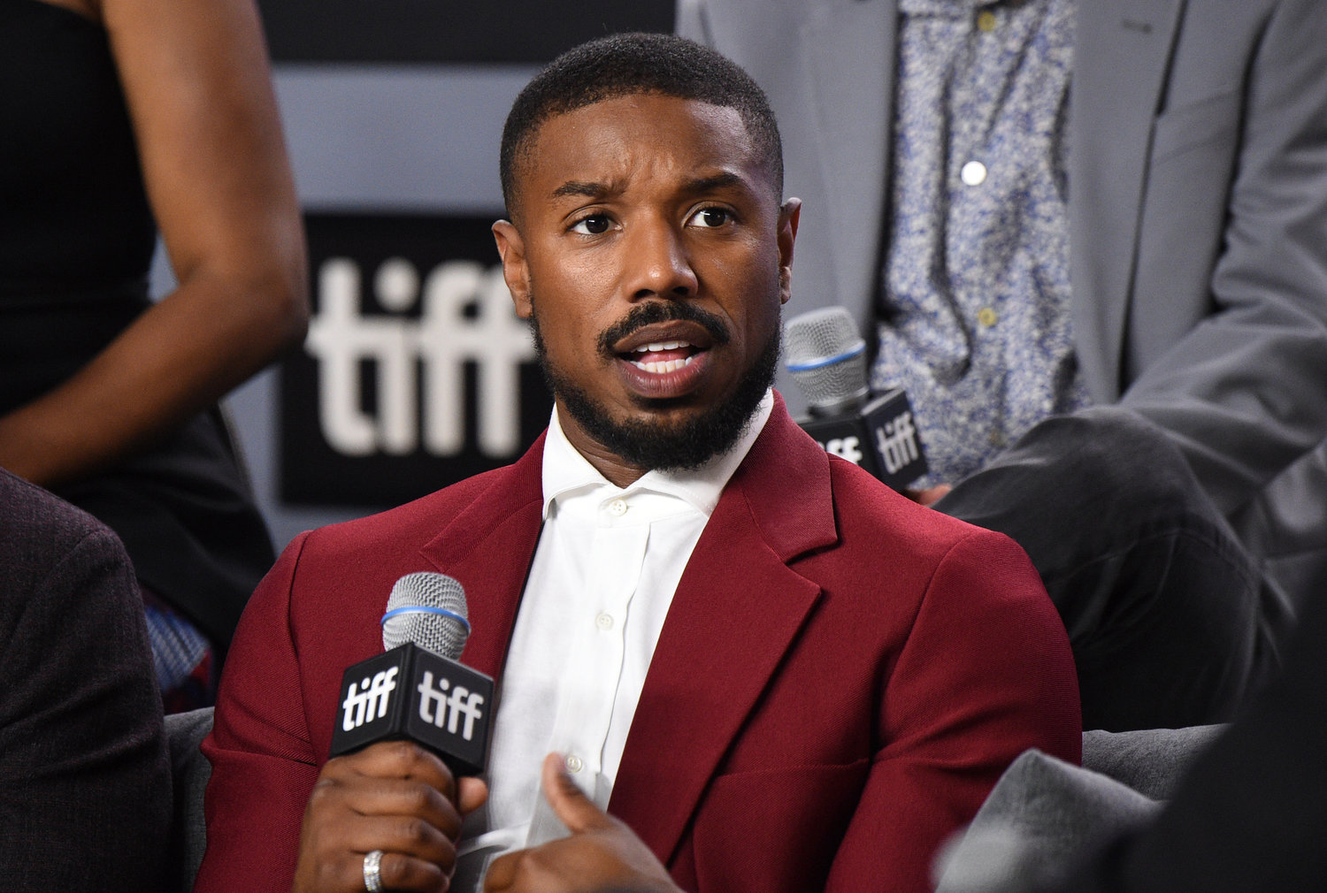 "FILE - Michael B. Jordan speaks at a press conference for ""Just Mercy"" during the Toronto International Film Festival on Sept. 7, 2019. Jordan stars in the new film ""Tom Clancy's Without Remorse."" (Photo by Evan Agostini/Invision/AP, File)"