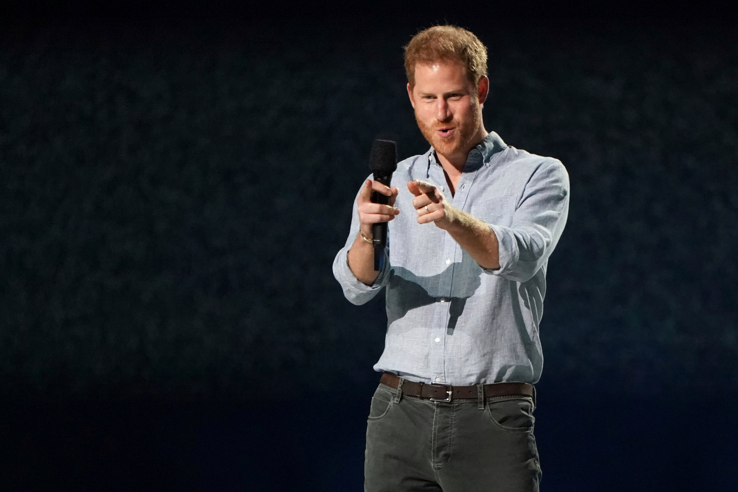 "Prince Harry, Duke of Sussex, speaks at ""Vax Live: The Concert to Reunite the World"" on Sunday, May 2, 2021, at SoFi Stadium in Inglewood, Calif. (Photo by Jordan Strauss/Invision/AP)"