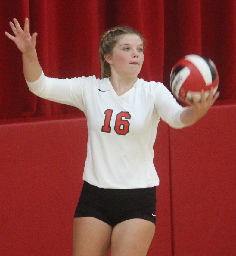 Missouri Valley's Addi Huegli (16) converted some huge serves at key moments during the Missouri Valley Volleyball Invitational on Sept. 5 in Missouri Valley.