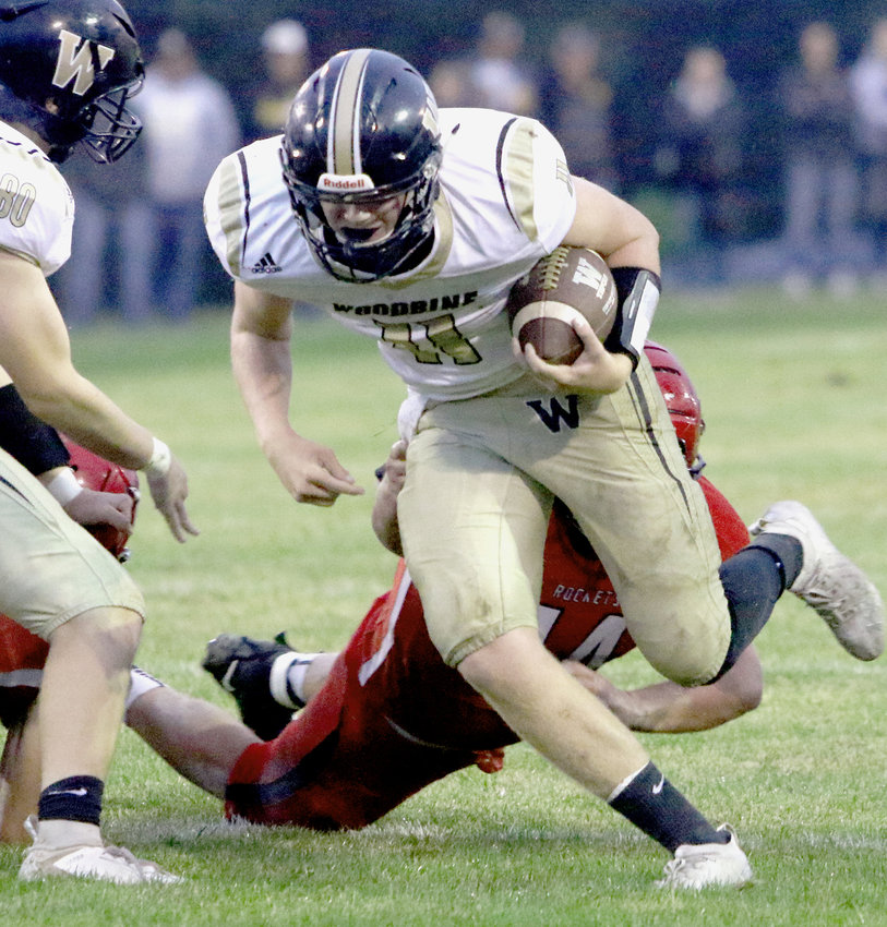Woodbine's Cory Bantam escapes a tackle in the District 8 battle against Ar-We-Va on Sept. 11 in Westside.