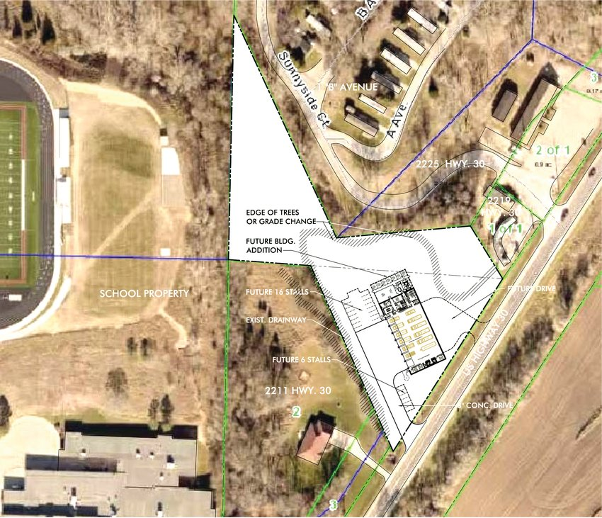 Curt Fielf of Prochaska and Associates shared the current floor plan for a proposed fire station on the city-owned site at the east edge of Missouri Valley.