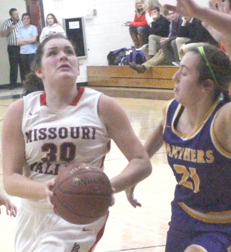 Missouri Valleys' Payton Hilts (30) eyes the basket in Tuesday's Western Iowa Conference battle with Logan-Magnolia.