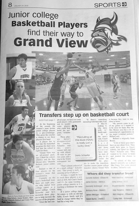 These is a special feature I designed in college for the GrandViews about several junior college basketball players who transferred to Grand View.