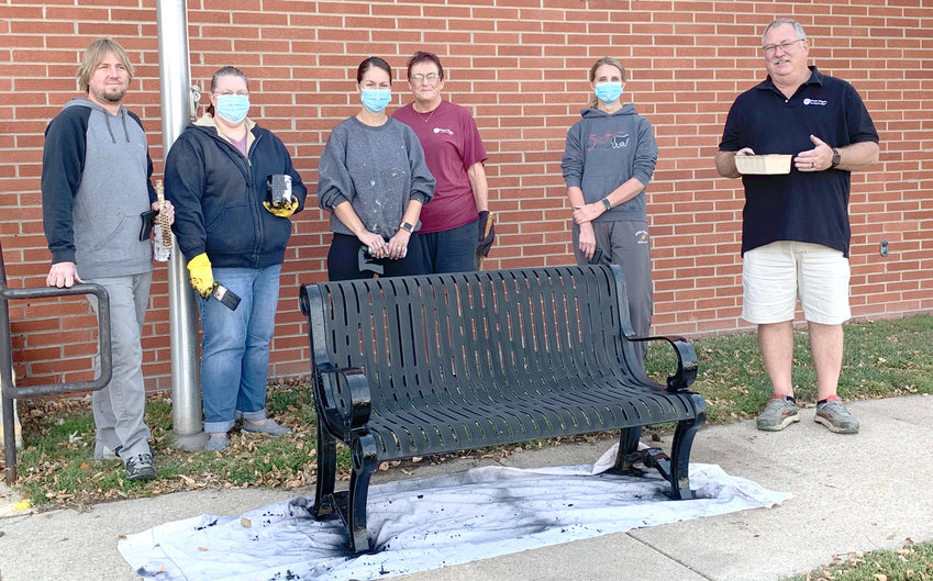 Some of the department heads from Maple Heights Nursing Home in Mapleton wanted to do something to help the community since everyone has been so great to the nursing home through this pandemic. The group painted the benches and garbage cans along Main Street in Mapleton.